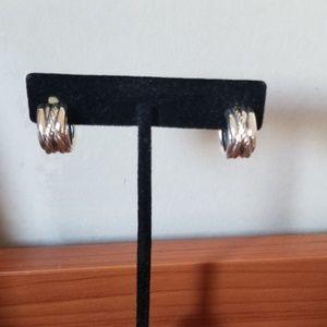David Yurman silver cable wrap huggies earrings